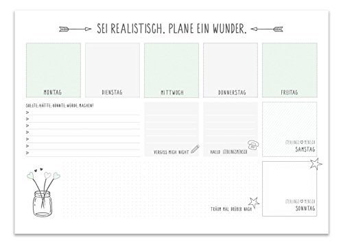 Schreibtischunterlage von LIEBLINGSMENSCH/25 Blatt zum abreißen/DinA3/für Notizen mit Wochentagen