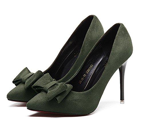Damen Pumps Nubukleder Stiletto Klassische Leichtgewicht Bequeme Anti-Rutsch Elegante Sandalen Armee-Grün