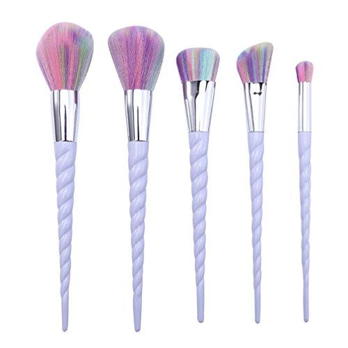 VWH 5 pcs Unicorn Makeup Brushes Foundation Eyebrow Eyeliner Blush Brush Cosmetic Brush Set (purple)