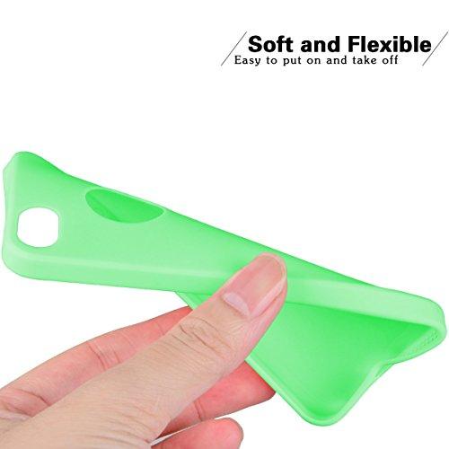 2pcs Apple iphone 5 Coque Protection écran Soft Case silicone flexible TPU en silicone flexible Housse de protection en silicone antidérapante Slim Fit avec couleur Candy Solaxi (Rose + bleu foncé) vert