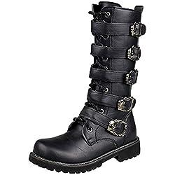 LXLLY Botas de Hombre Botas de Invierno de Martin Botas de Invierno Clásico Antideslizante Botas Altas Impermeables Zapatos Ejército Gótico Steampunk Zapatos Moto,44