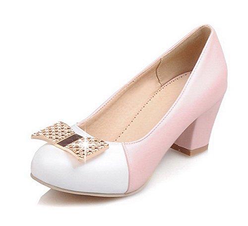 VogueZone009 Damen Blend-Materialien Ziehen Auf Rund Zehe Gemischte Farbe Pumps Schuhe Pink