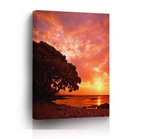 wonbye Leinwanddrucke Canvas Prints Wall Art - Rose Red Sky Big Tree Modern Style Gallery Art Print Ready to Hang for Home Decoration - 19