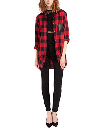 StyleDome Femme Chemise à Carreaux Manches Longues Bouton Revers T-shirt Plaids Flanelle Top Hauts Blouse Rouge