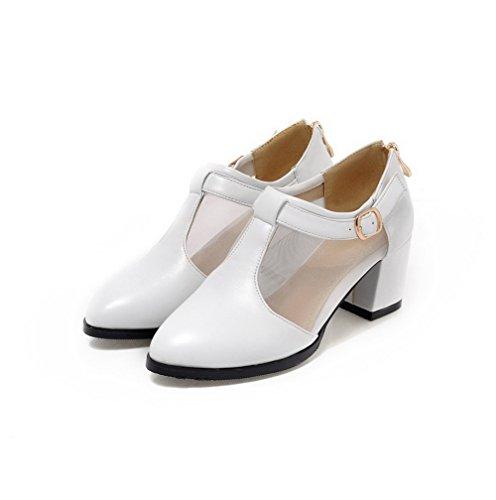 VogueZone009 Femme Zip Matière Souple à Talon Correct Boucle Pointu Chaussures Légeres Blanc