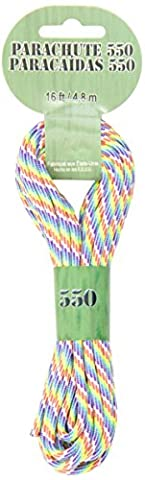 Pepperell 3mm Parachute Cord, 16-Feet, Tye-Dye/Rainbow