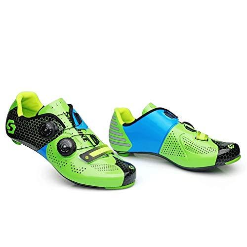 ZWYY Scarpe Bici da Corsa in Fibra di Carbonio Traspirante Antiscivolo Scarpe da Allenamento Unisex Ultra Leggero Ciclismo Lock Scarpe Montagna Scarpe da Ginnastica Racing,Green,36