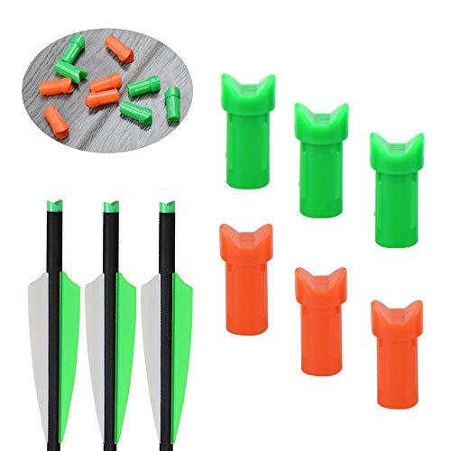 SHARROW 100 Stück Moon Nock Ends für Armbrustbolzen Pfeilnocke Nocken für Pfeile Armbrustbolzen ID 7.6 mm (Grün, 50 Stück) -