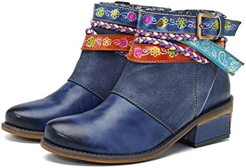 Stivaletti Tacco Basso Vintage Bohemian Bohemian Bohemian Zipper Buckle Straps Scarpe da Donna per Le Donne | Pregevole fattura  a44321