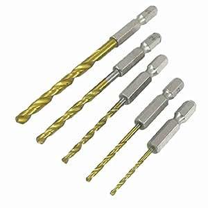 5 in 1 Zylinderschaft HSS 2 mm bis 5 mm Spiralbohrer Set Gold-Ton