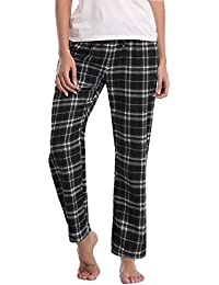 Aibrou Pantalones de Pijama Mujer de Cuadros de Forro Polar de 100% Algodón