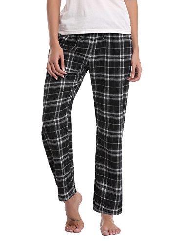 - 418QcxH5O3L - Aibrou Ladies Fleece Lounge, Classic Checked Polar Pyjama Bottom Trouser Pants Nightwear