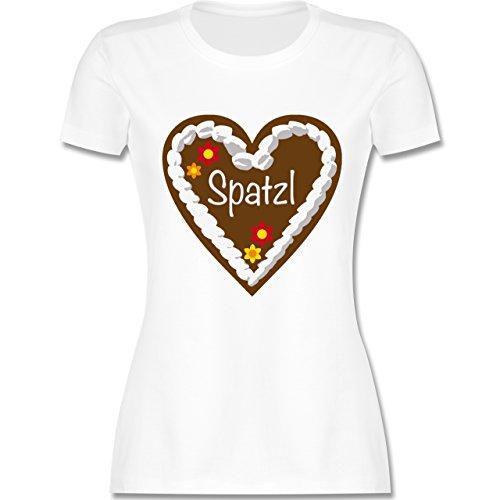 Lebkuchenherz Spatzl - L - Weiß - L191 - Damen Tshirt und Frauen T-Shirt ()