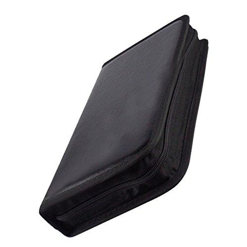 Segolike 80Disc Heavy Duty CD DVD Storage Bag Case PU Leather Disks DVD Holder Black