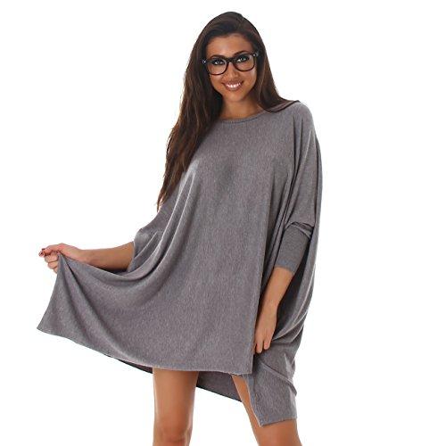 VOYELLES Damen Pullover im Oversize Stil, Fledermausärmel und Rundhalsausschnitt 36-42 Grau