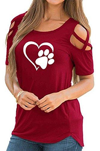 Masterein Frauen Mädchen O-Ansatz Herz-Katzen-Greifer-Druck-Sommer-T-Shirts Kurzarm T-Shirts Tops Rot M