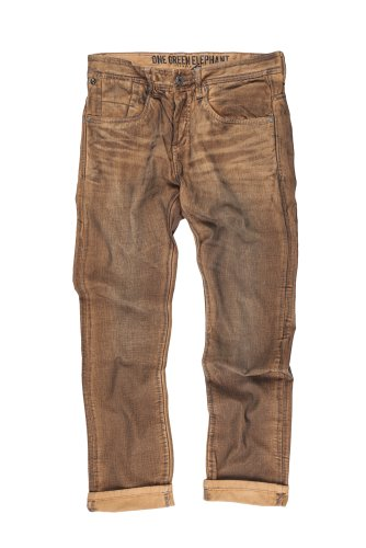 One Green Elephant Jean Homme Columbus slim Straight Crayon Wash Mustard / Brown