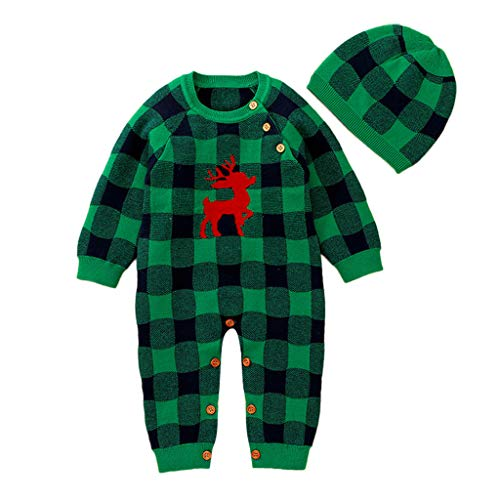 Zegeey Baby Jungen MäDchen Langarm Strampler Jumpsuit Und Hut Kariert Weihnachten Bekleidungssets Festliche Festliche Outfits Schlafanzug Pyjama Pullover(Grün,70-80)