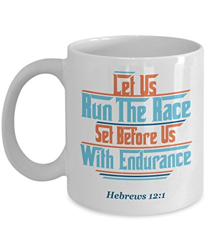 Let Us Run The Race Hebrews Bible Verse Coffee & Tea Gift Mug for a Christian Long Distance Marathon Runner (Up Original-dress Ideen)