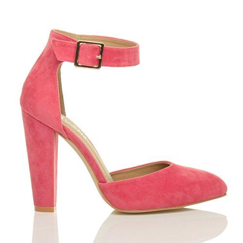 Damen Hochblockabsatz Mode Schnalle Spitz Pumps Knöchelriemen Schuhe Größe Korallenrosa Wildleder