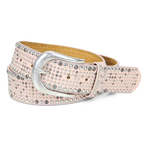 irisaa Damen Nieten Gürtel in Vintage-Looks aus verschiedenen Nieten 3.8 CM Breite und Kürzbar zum Sommer, Farbe:pink, Länge:100 (Leder-rocker-gürtel)