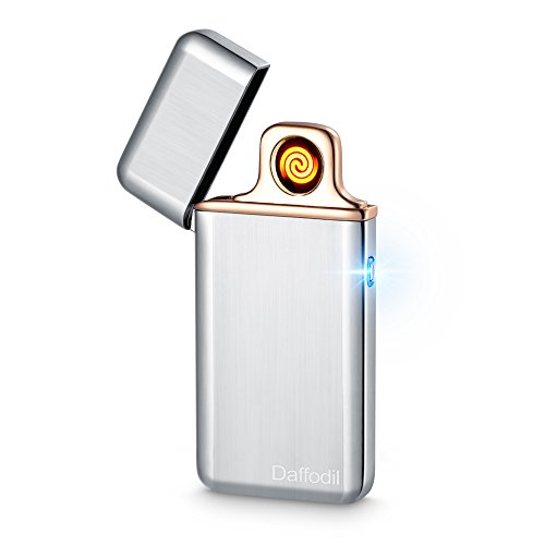 Encendedor Electrónico USB para Cigarrillos - Daffodil EC220 – Mechero Compacto para Cigarrillos con Sensor Táctil y Bobina Incandescente Reemplazable - Color Plata