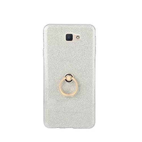 Luxus Bling Sparkle Style Case, Soft TPU [Silikon] Flexible Glitter Back Cover mit Fingerring Stand für Samsung Galaxy J5 Prime ( Color : White ) White