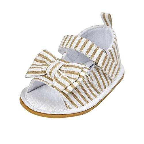 Clode® Bébé Fille Bowknot Sandales Chaussure Sneaker Anti-dérapant mou Seul Bambin (0~ 6 mois, Gris) Khaki