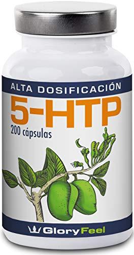 5HTP 200 Cápsulas de Alta Dosificación - 5-HTP Vegano - 200mg del extracto Original de la Semilla de Griffonia Simplicifolia - 5HTP capsulas - Suplemento Premium de GloryFeel