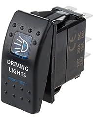 WEONE Interruptor unipolar 12V 12A Coche Barco ARB dual impermeable LED azul luz de conducción del eje de balancín de ON-OFF