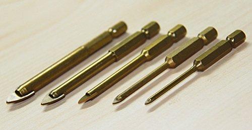 SaySure - 5 Piece Titanium Coated Glass Drill Bits Set 3/4/6/8/10mm