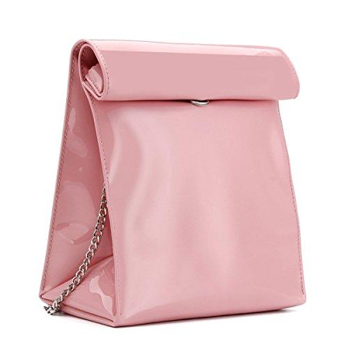 Party-Kette Paket Frauen Arbeiten Schulter Messenger Tasche Einzigartigen Curling Handtasche Pink