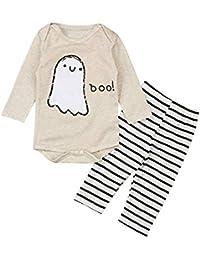 Yilaku Bebé Niñas Conjuntos Blusas y Pantalones y Diadema Pijama algodón Blanco