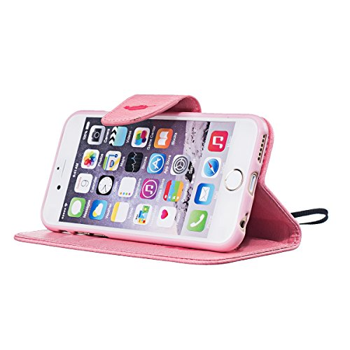 Custodia iPhone 6, ISAKEN Custodia iPhone 6S, iPhone 6 Flip Cover con Strap, Elegante borsa Colorate Albero Design in Sintetica Ecopelle PU Pelle Protettiva Portafoglio Case Cover per Apple iPhone 6 4 Piuma: rosa