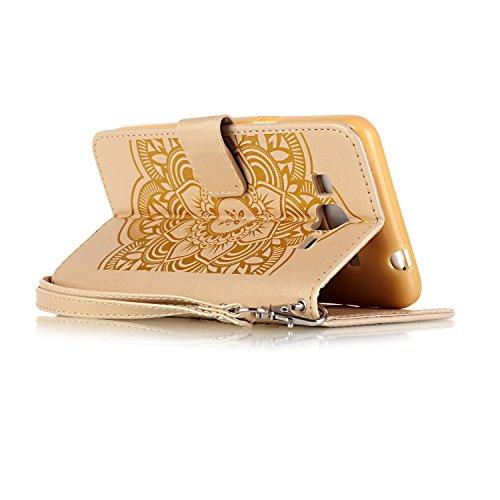 iPhone 5S Hülle Muster, TOCASO Ultra Grau Thin PU Leder Flip Cover Tasche Ledertasche Handytasche Bunte Pattern Schutzhülle für iPhone SE 5 5S Buchstil Handyhülle Protective Case Etui Bumper Schale Wa Golden,Campanula