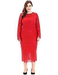 d6b533e309f9 La vogue-Vestito Medio Lungo con Lace da Donna Plus Size Slim Abito