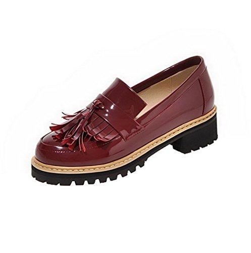 AllhqFashion Damen Pu Leder Niedriger Absatz Rund Zehe Rein Ziehen Auf Pumps Schuhe Rot