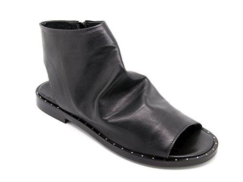Carmens Padova sandali donna con gambale in pelle nera sfoderata, chiusura zip, suola di gomma (EU 38)