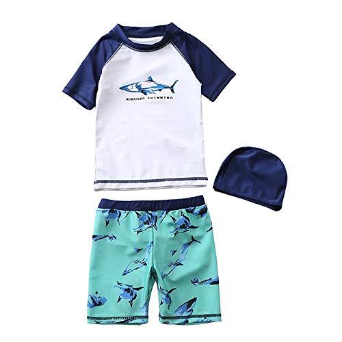 (MIAOMIAOWANG Jungen Schwimmen Kostüm Outfits Kinder Jungen Shark Pattern Printing Badeanzüge Zwei Stück Sonnenschutz Bademode Sets 3-8 Jahre Beachwear Baden (Größe : 05))