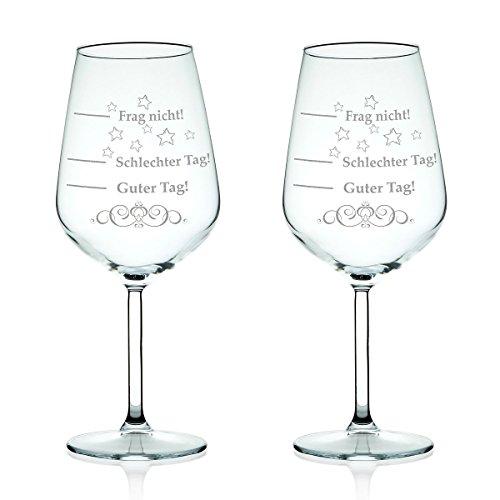2x Leonardo XL Weinglas graviert mit Schlechter Tag, Guter Tag - Frag nicht! - Stimmungsbarometer -...