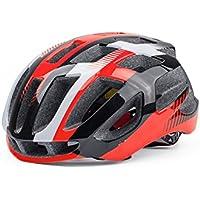 Flowerrs Casco Scooter Casco de Bicicleta Ajustable para Adultos Casco de ventilación poroso Casco de Bicicleta de una Pieza (Negro + Rojo) Skate Helmet