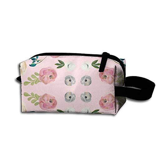 Travel Makeup August Free Floral in Pink Beautiful Waterproof Cosmetic Bag Quick Makeup Bag Pencil Case