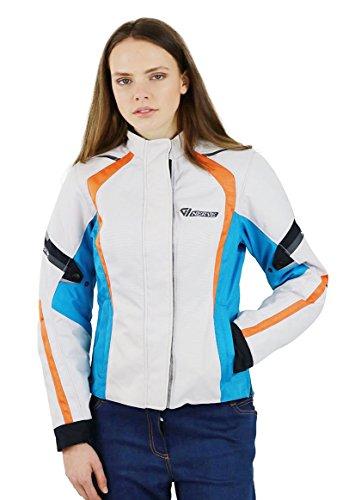 Preisvergleich Produktbild Nerve Artemis Damen Motorrad Jacke,  Weiß / Blau,  42