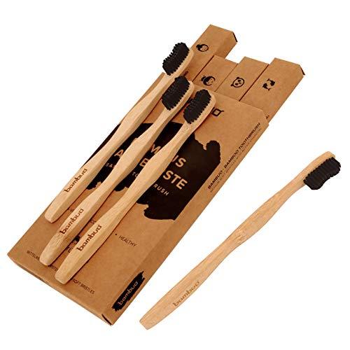 Juego de 4 Bambú Cepillo de dientes · Madera Cepillos de Dientes de bambú · 100{9194cdb1fbf23f97b0512d0872ff96babc752e77dfe409968f682dbcef7b4036} sin de BPA y totalmente Vegano · Medio cerdas suaves de carbón activo de fibras de bambú