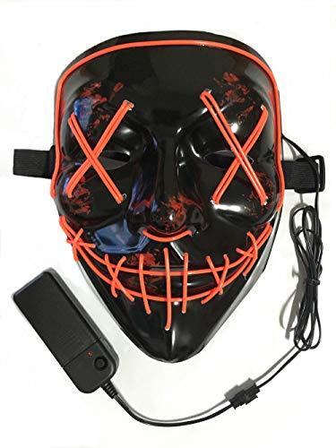 Neusky LED LEUCHT Maske, 3 Verschiedene Blinkmodi Elektronik Maske, Party Leuchtmaske (Schwarz-Rot)