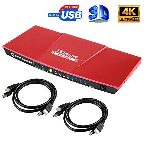 TESmart KVM Switch HDMI 4K 4 Entrada 1 Salida 3840x2160@30Hz