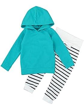 Amlaiworld winter warm langarm sweatshirt Stripe hose Mädchen Jungen dick Kapuzenpullover Bekleidungssets,0-24Monate