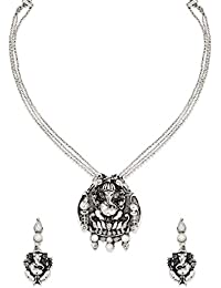 Zaveri Pearls Antique Lord Ganesha Temple Necklace Set For Women-ZPFK6309