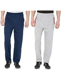 FflirtyGo Men's Cotton Track Pants, Joggers Men, Men's Leisure Wear, Night Wear Pajama, Blue Grey Combo Zip Pockets Sports Gym Athletic Training Workout