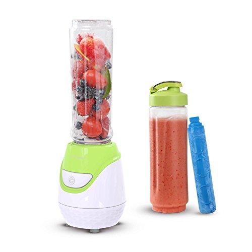 Aigostar Greenberry 30JHU - Batidora de vaso portátil, 600W, tubo refrigerante, incluye 2 vasos portátiles de Tritan de 600 ml y 2 tapas. Libre de BPA, color verde y blanco. Diseño exclusivo.